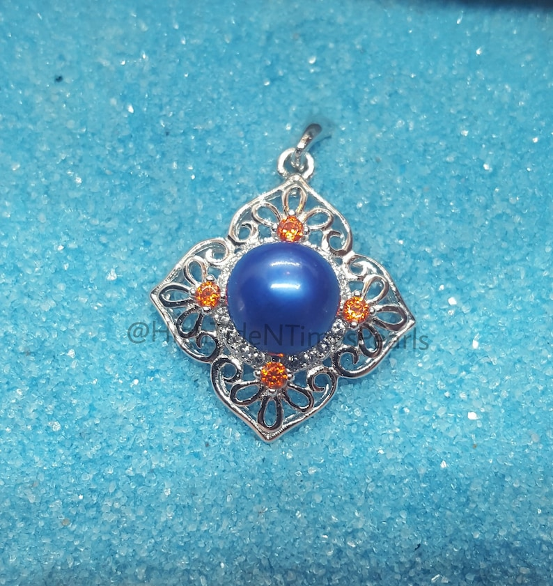 Pepsi Blue- (7-8mm) Akoya Salt Water Pearl-  925 Sterling Silver Pendant  w/(4) Red- White Zircons*Great For 4th of July, Labor/Memorial Day*