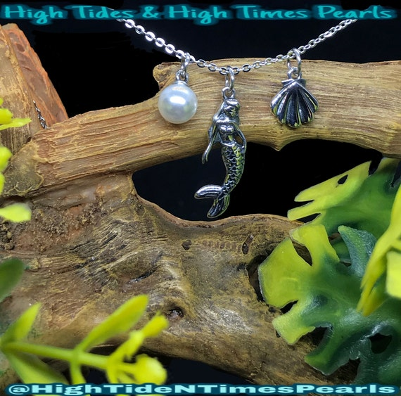 Silver Plated Mermaid Glow-In-The-Dark *Similar To Disney/'s* On Stranger Tides Pirates Of The Caribbean Pendant Pearl Cage