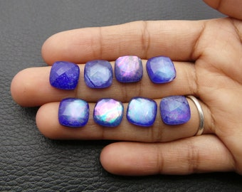 Lapis Lazuli Rock Crystal Doublet Cabochons-Lapis Crystal Doublet-Natural Lapis Crystal Faceted Oval Cabochons-13.5x10.5 MM-4 Pcs-BSW14753