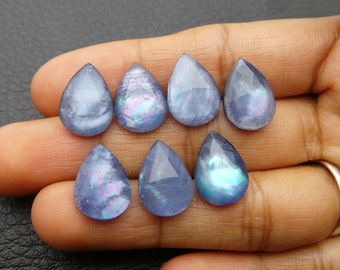 Natural Lapis And Crystal Doublet One Side Chacker Cut Cabochons Lapis And Crystal Doublet Loose Gemstone Round Shap 6 mm JC-2580