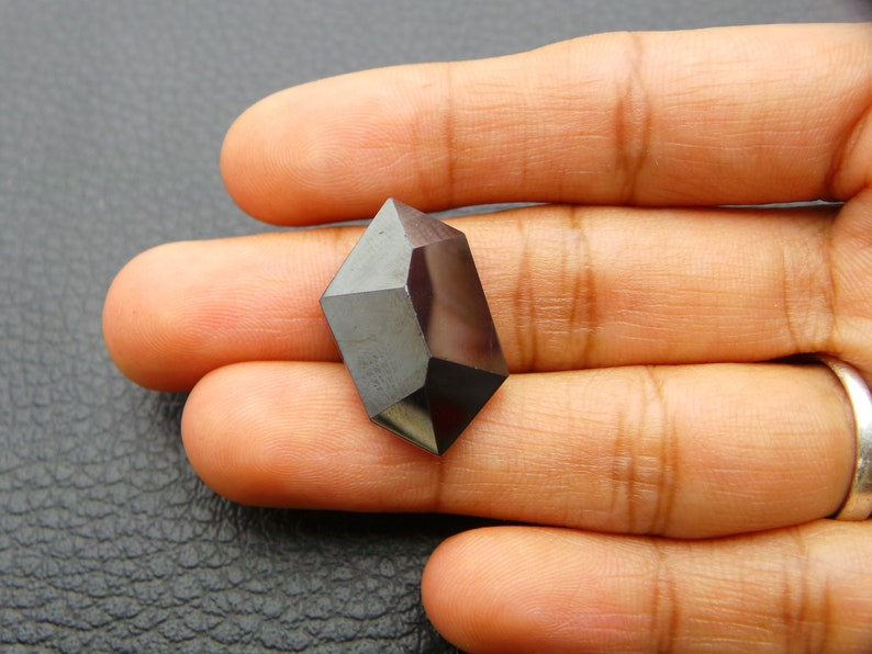 Gunmetal And Crystal Doublet-Both Side Faceted Cut  Fancy Shap Gunmetal And Crystal Doublet Gemstone-AAA Quality-23.5x14x8.5 MM-JC-4991