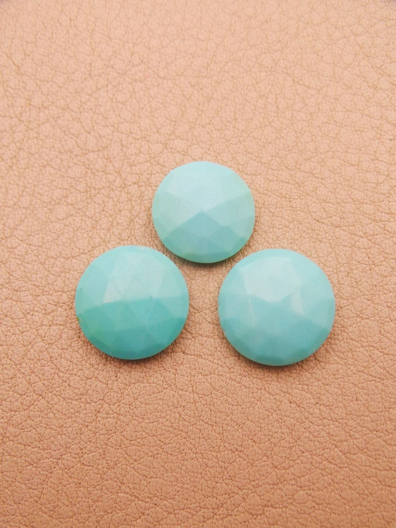 Arizona Turquoise Both Side Rose Briolettes Cut Round-Arizona Turquoise Loose Gemstone-Turquoise Jewelry AAA Quality-13.5-15 MM-JC-692