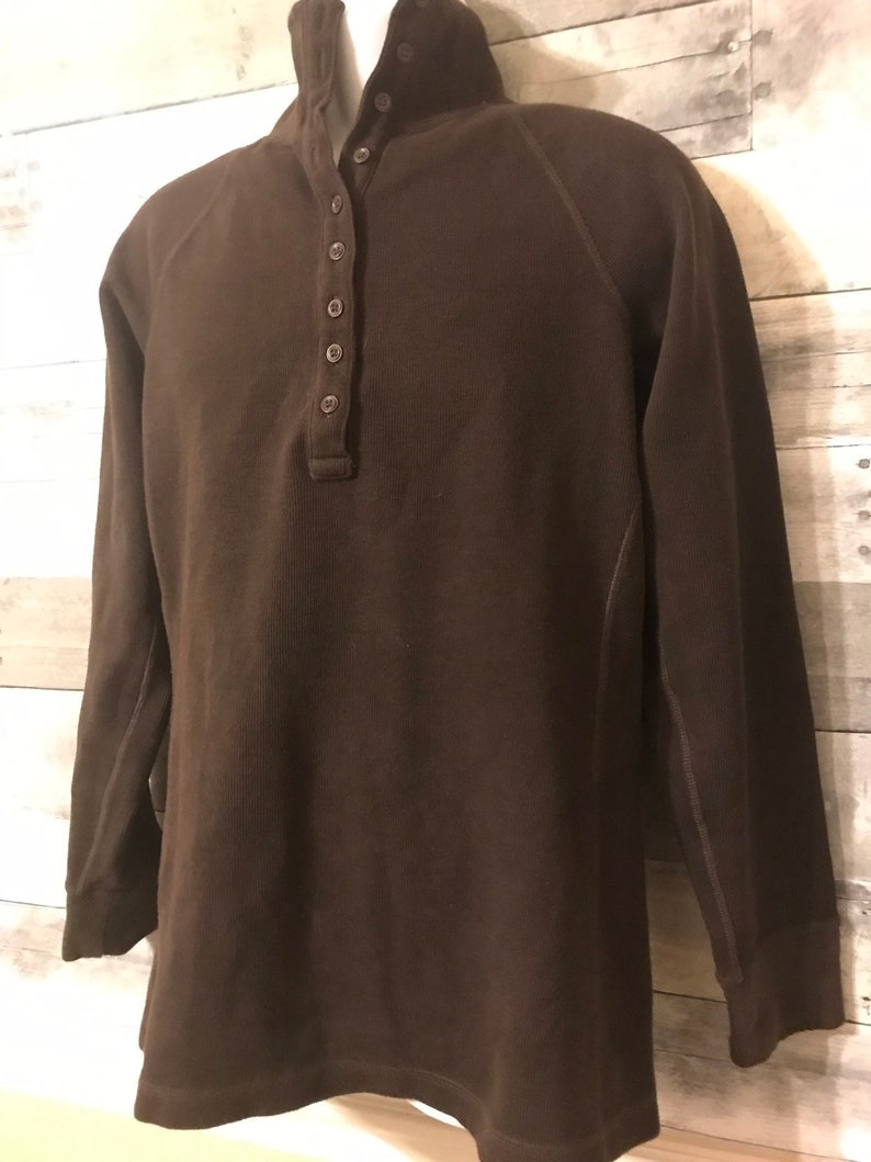 san francisco 245f8 0a394 Duluth Trading Co Men's Sweater Brown Henley Long Sleeve 1/2 Button  Pullover M