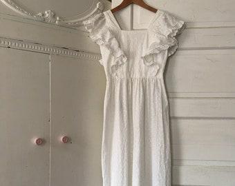 Ethereal Forest Goddess Eyelet Cotton Dress