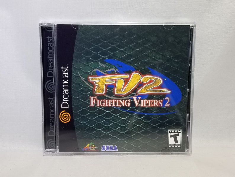 Fighting Vipers 2 Custom Reproduction for Sega Dreamcast --Disc -- Case --  Insert -- Cover --