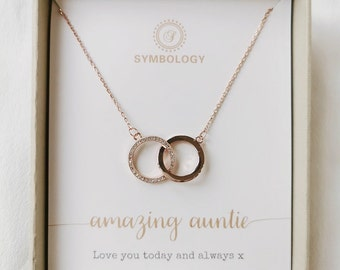 Auntie Gift Necklace of SYMBOLOGY  Amazing Auntie Dainty Love Heart Necklace Silver  18K Rose Gold  SYMBOLOGY Gold Necklace for Auntie