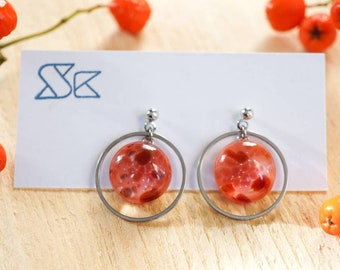 Circular fused glass earrings in autumn colours - honey, amber, berry and leaf.  Hypoallergenic. Circle earrings. Cosmic aesthetic.