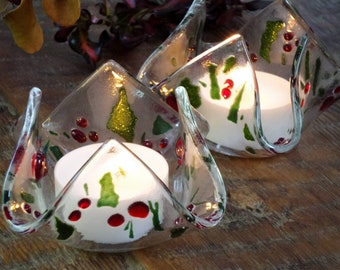 Pair of glass candle holders with fused glass Christmas holly decorations. Tealight candle included. PREORDER