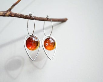 Petal fused glass earrings in autumn colours - honey, amber, berry and leaf. Hypoallergenic. Handmade in the UK. Gift for her.