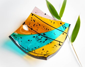 Multicoloured glass trinket dish - Fused glass rainbow ring dish - Colourful home interiors - Friend birthday gift -  Handmade in the UK