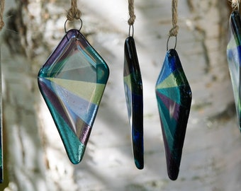 Beautiful Christmas tree decorations made from multicoloured translucent glass. Diamond shaped glass light catcher.