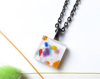 Fused glass tile pendant necklace - White with multicoloured glass inclusions. Hypoallergenic chain.