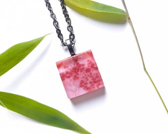 Pink fused glass tile pendant necklace inspired by the beauty of cherry blossom