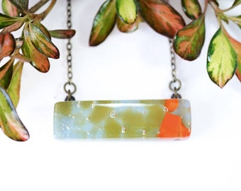 Glass bar necklace - Sky blue, chartreuse green and tangerine orange - Fused glass jewellery - Antique bronze chain - Gift for her - UK made