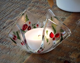 Glass candle holder with fused glass Christmas holly decorations. Tealight candle included. PREORDER