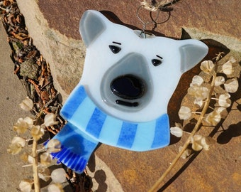 Polar Bear Christmas tree decoration made from fused glass. Tree hanging ornament. Christmas gift ideas. Handmade in the UK. PREORDER