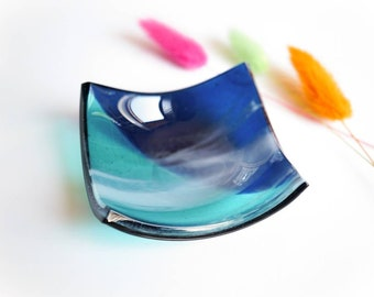 Fused glass bowl in shades of blue and dreamy white. Square shaped glass trinket dish, perfect for colourful home interiors.