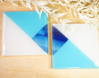 Blue glass coasters with a triangular design. Gift ideas for him.