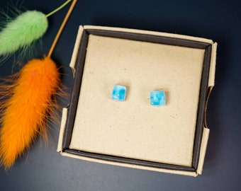 Blue glass cube earrings - Square studs - Geometric style - Fun colourful jewellery - Gift for her - Fused glass earrings - Made in the UK