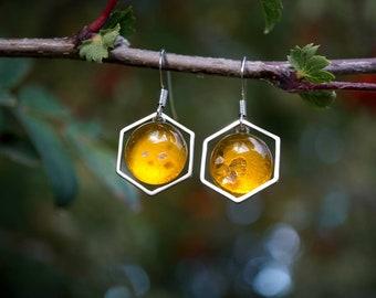 Hexagon earrings in autumn colours - honey, amber, berry and leaf. Fused glass earrings. Geometric design. Hypoallergenic. UK maker.