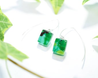 Sterling silver 925 v hook earrings with fused glass accents - Green glass dangly earrings - Chartreuse, emerald, plum - UK handmade