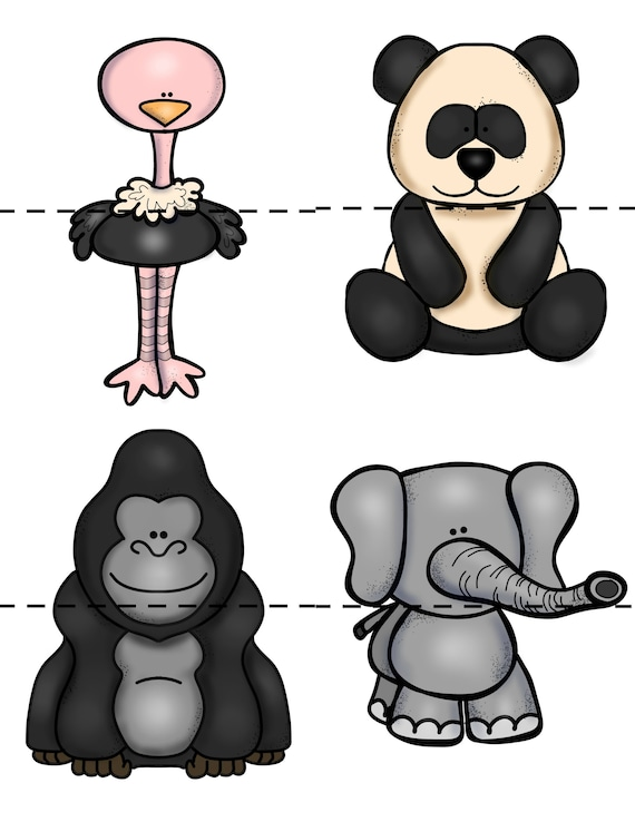 Mix and Match Puzzles, Puzzles animaux, préscolaire jeux, enfants jeux, Puzzles, calme l'activité, jeu éducatif, Animal jeu, numérique téléchargement