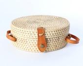 Plain Round Rattan Bag, Indonesian bag, woven bag, basket bag, Bali bag, Crossbody Straw Boho Bag, purse for Women