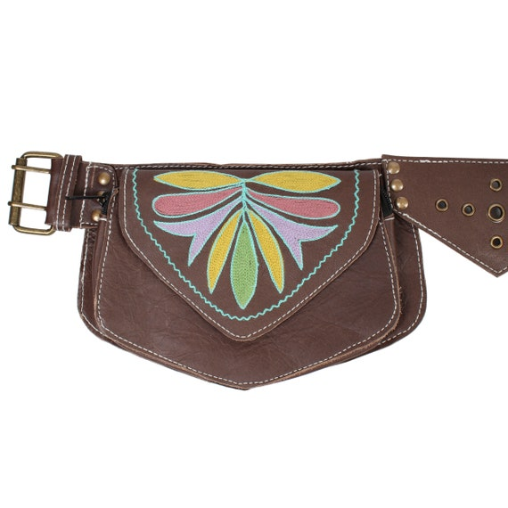 Floral Embroidery Leather Festival Hip Belt Pouch-