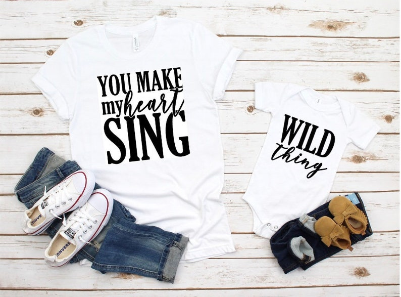 Wild Thing You Make My Heart Sing,Mommy and Me outfit, Mommy and me shirts  girl,Daddy & me shirts, Mother and daughter matching outfits