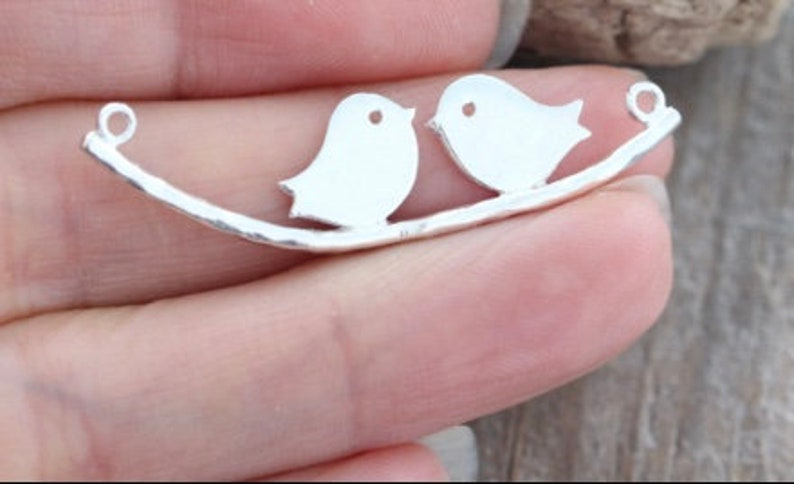 Mama bird and baby bird a family of birds 925 sterling silver necklace Flower girl necklace  Be my flower girl lovebirds