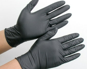 Strong Durable Black Nitrile gloves. Small - X-LARGE available. Medical / Exam grade. Box of 100