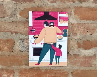 Dad - Family -Kids- Parenting - Poster - Art - Kitchen