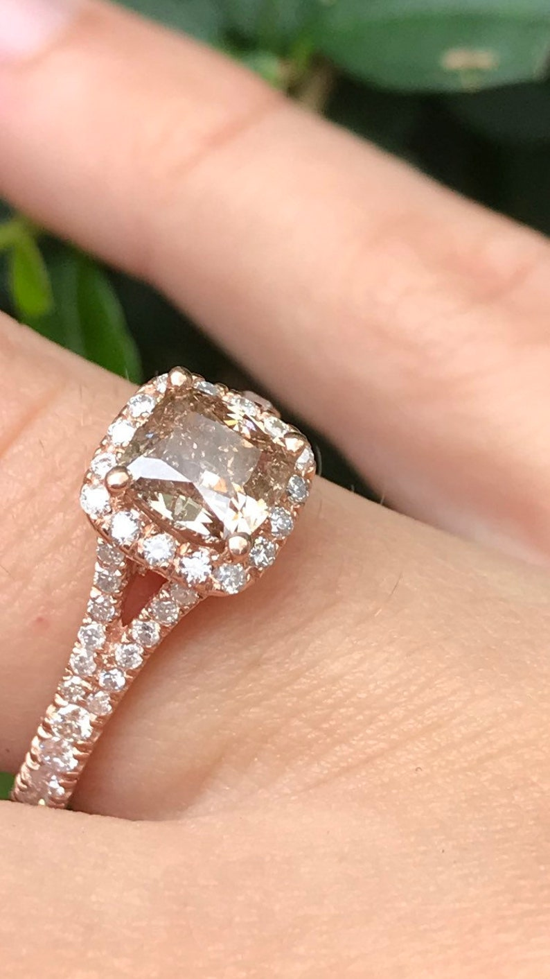 bbe20141eaf0b 1.70 CT Champagne DIAMOND Engagement Ring, 14K Rose Gold Diamond Ring,  Natural Diamond Halo Engagement Ring, Cushion Diamond Engagement Ring