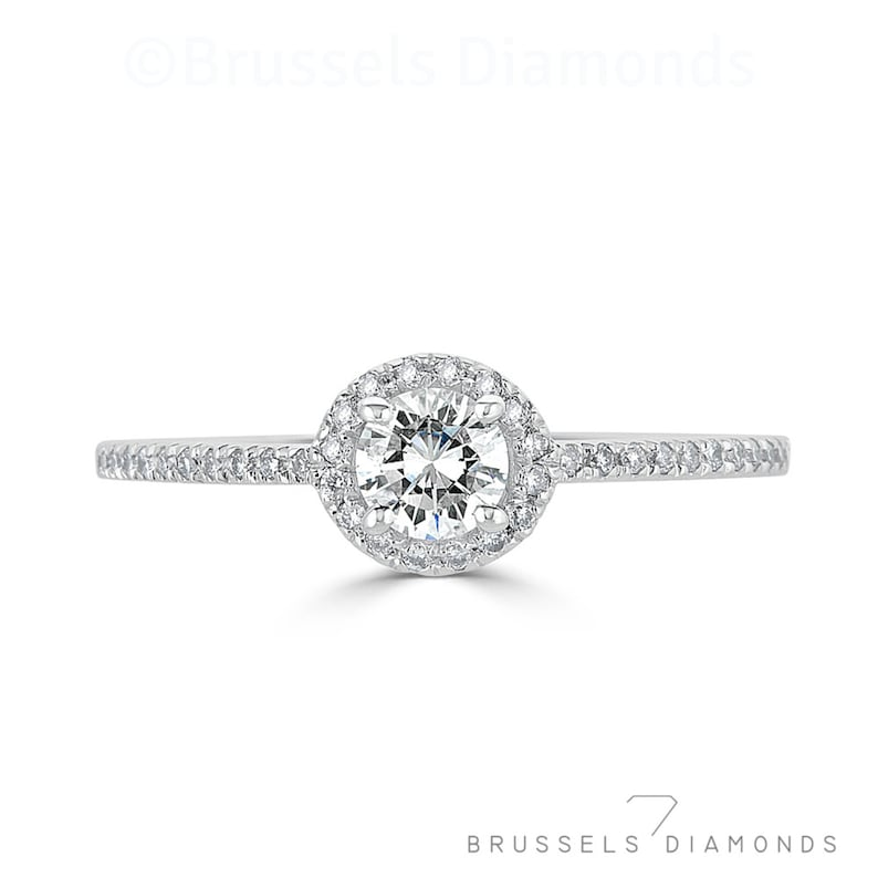 829fc6fd521ce 0.50 Ct Diamond Halo Engagement Ring, Natural Round Diamond G/SI2, Dainty  Engagement Ring, Halo Ring,, 14K White Gold