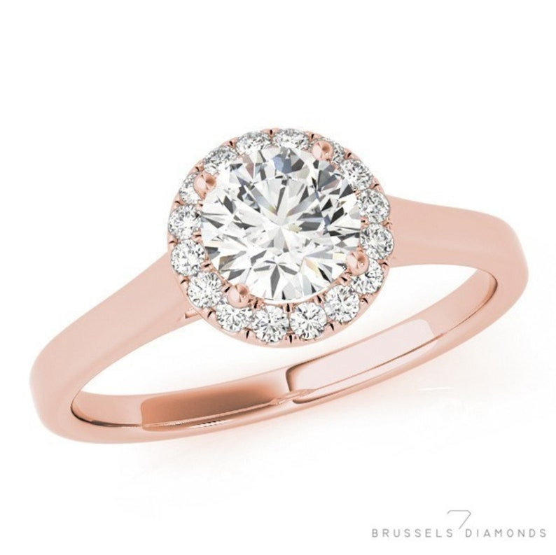 dceb4187a0a4a 0.60 CT Diamond Halo Engagement Ring, Round Diamond Engagement Ring, 100%  Natural Diamond Round H/SI2, DIAMOND Halo Ring, 14K Rose Gold Ring