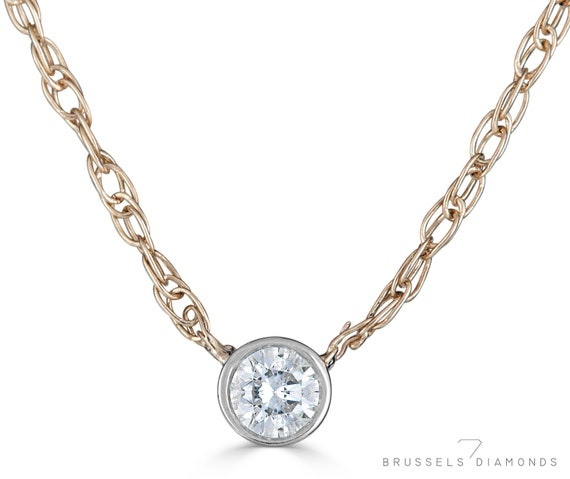 0.10-1ct I1//HI Natural Diamond Gold /& Platinum Women Solitaire Pendant Necklace