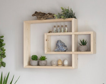 "Solid Wood Display Shelf 24.5""x 14"".  Rectangular floating wall shelf unit. Crystals shelf. Essential Oils Shelf. Different collors."