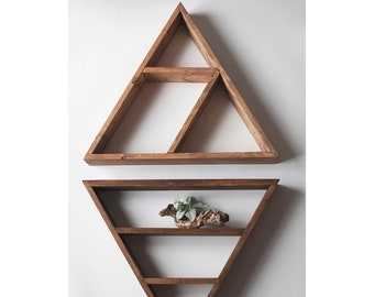 "Set of TWO Solid Wood Pyramids - Triangle Shelves 13.5""x 3"" . Different design & Color"