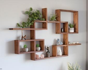 "Solid Wood Display Shelf 46""x 25"". Square - Rectangular floating wall shelf. Crystals shelf. Essential Oils Shelf. Geometrical wall shelf."