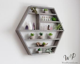 "Large Hexagon Shelf 27""x23.5"". Essential Oil Shelf. Crystal display shelf. Floating hexagon shelf with optional drawer.."
