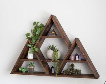 """Big Tripple Triangle Wood Shelf 30""""x20""""x5"""" deep. Mountains Shelf Design. Crystals shelf. Essential oils shelf. Four designs."""