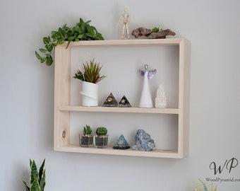 "Solid Wood Shelf 4.5"" (or 5.5"") deep x 22""x18.5"". Rectangular shelf . Modern wood display shelf. Gift for Her. Bookshelf."