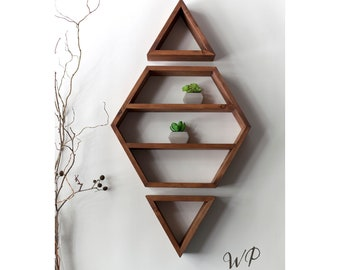 Hexagon - Diamond set of solid wood shelves. Crystals shelf. Essential Oils Shelf. More colors and styles.