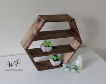 """Solid Wood Hexagon Shelf 14""""x12""""x 3"""". Crystals shelf. Essential Oils Shelf. Different size, color or style."""