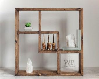"Solid Wood Shelf 18""x18""x3 1/4"". Square Rectangular shelf . Different collors."