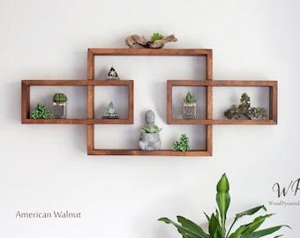 "Solid Wood Display Shelf 33.5""x 14"".  Rectangular floating wall shelf unit. Crystals shelf. Essential Oils Shelf. Different collors."