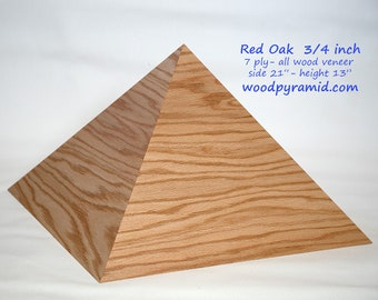 "Giza Wood Pyramid - Red Oak - 21"" -side slope 51.8deg"