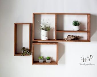 "Set of Rectangular Solid Wood Shelves 24""x12"". Eight different designs - set or single. Crystals shelf. Essential Oils Shelf."