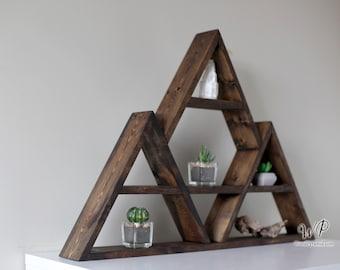 """Big Tripple Triangle Wood Shelf 30""""x20"""". Mountains Shelf Design. Crystals shelf. Essential oils shelf. Four designs."""