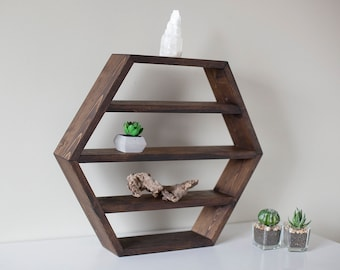 "Solid Wood Hexagon Shelf 14""x12""x 3"" . Different Colors"
